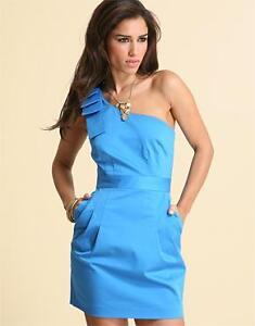 French Connection Blue One Shoulder Dress with Bow