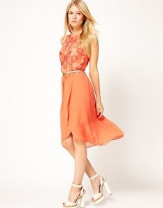 NEW OASIS EXCLUSIVE DIPPED HEM DRESS SIZE 18 - CORAL - RRP £80.00 - Z2724