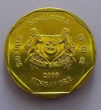 Singapore 2nd Series Currency Coin $1 of Year 2009 - VERY FINE & NICE Coin
