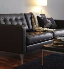 IKEA LANDSKRONA 2 seater SOFA IN DARK BROWN LEATHER - barely used. Less than 6 months old. As new.