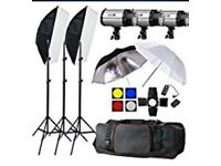 Photography Studio Flash Lighting Set 750w with Carry Bag and White Roll 2.7m Back Drop for DSLR