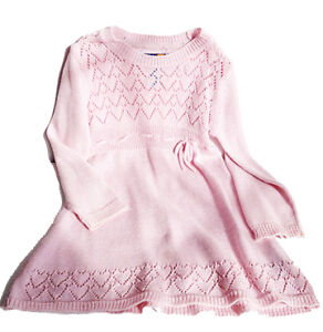 Winter knit pink dress with sparkles size 3 / Robe d'hiver en tr
