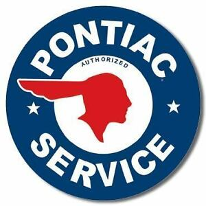 Vintage-Replica-Tin-Metal-Sign-Billboard-Pontiac-Ford-Service-Round-Old-Logo-New