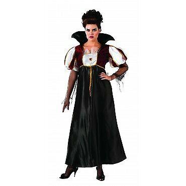 Royal Vampir Lady Halloween Karneval Kostüm für Damen Zähne Blut Horror Gr. XL