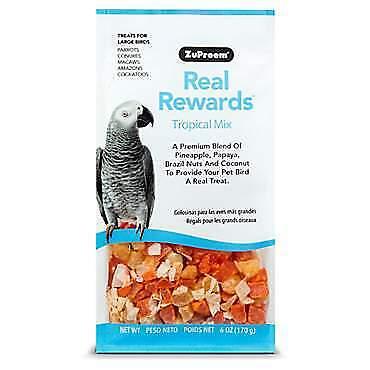 (set2)ZuPreem Real Rewards Tropical Mix Large Bird Treats, 6-oz bag Large Bird Treat