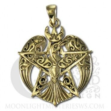 LARGE BRONZE MORRIGAN RAVEN PENTACLE PENDANT-P.BORDA-DRYAD-CELTIC PAGAN WICCA  on Rummage