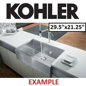 "NEW* KOHLER APRON FRONT KITCHN SINK - 123880877 - KITCHEN UNDERCOUNTER STAINLESS STEEL 29.5""x21.25"""