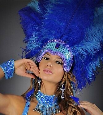 LAS VEGAS SHOWGIRL DANCER MARDI GRAS Women Feather Costume HEADPIECE - Mardi Gras Dance Kostüm