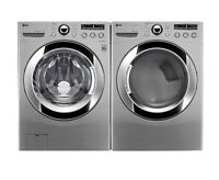 LG Front Load Steam 4.6.cu.ft Washer and 7.3cu.ft Dryer Pair 27'