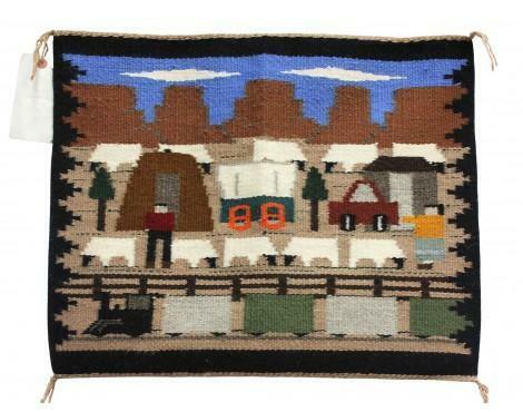 """Joann Begay, Navajo Pictorial, Handwoven, 23"""" x 19"""""""