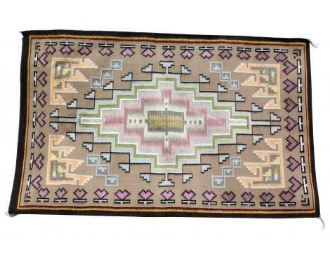 Sadie Charlie, Burntwater Rug, Navajo Handwoven, 48 in x 30 in