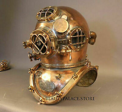 Copper Antique Vintage Scuba Diving Helmet US Navy Mark V Deep Sea Boston Divers