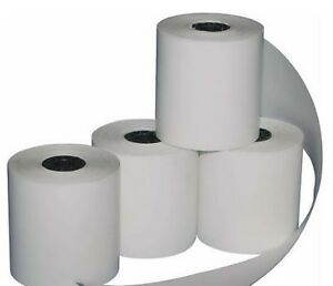credit card terminal paper rolls 225 thermal paper for credit card machines case includes 50 rolls each roll is 50 feet in length.