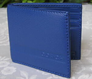 NWT-COACH-MENS-CAMDEN-PEBBLED-LEATHER-SLIM-BILLFOLD-WALLET-BLUE-74438