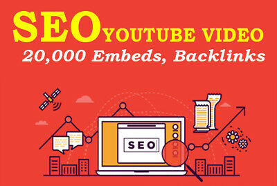 YOUTUBE  SEO 20k Embeds, Backlinks + 20 Social signals 400 Search engines (Youtube Seo)