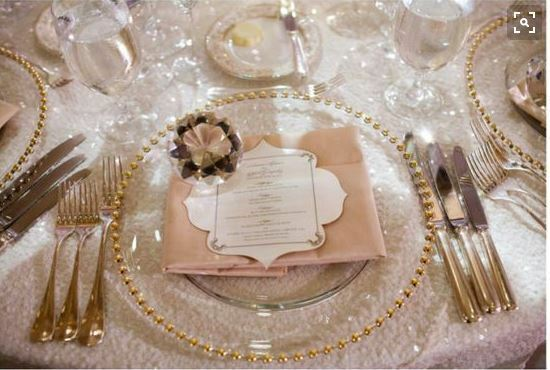 Gold Rose Gold Silver Glass Beaded Charger Plate From 163 1