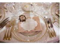Gold Rose Gold Silver Glass Beaded Charger Plate from @ £1.00 - Promotional Price for hire