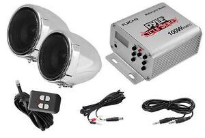 Pyle PLMCA10 Weatherproof Motorcycle Radio MP3/iPod w/Handlebar Speakers