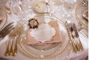 5000 pieces of gold and silver glass charger plates available