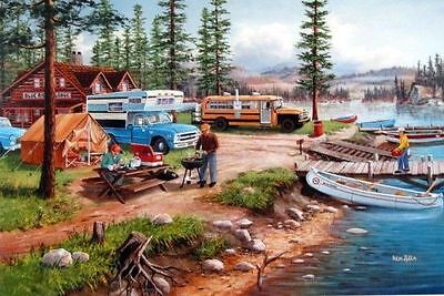 Ken Zylla Weekend Retreat Lake Campground Art Print  12  X 8