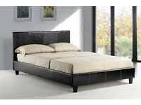 WOW Brand New Flat-Packed King 5ft low frame Leather Bed Black and Brown/ With Mattress option