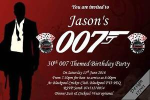 10 x Personalised James Bond 007 Birthday Party Invitations & Envelopes Any Age