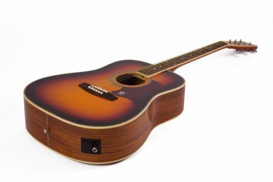 Lindo Electric Acoustic Dreadnought Guitar - Sunburst, body is made from Zebra Wood.