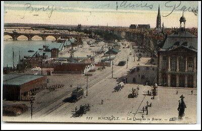 Bordeaux Frankreich Feldpost AK CPA 1917 Les Quais de la Bourse Straßenbahn Tram