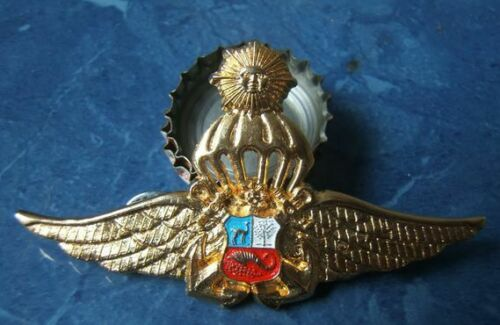 PERUVIAN NAVY  BADGE PARACHUTE   OFFICER  GOLDEN SILVER WITH WINGS