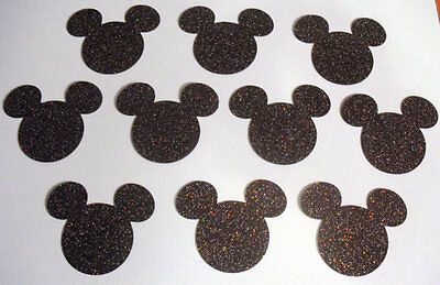 100 Mickey Mouse Head Punch Cut Outs Confetti handmade - Glitter black color