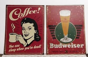 2 retro Tin Signs  newer they have a vintage, distressed appeara