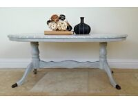 Grey Oval Vintage Coffee Table
