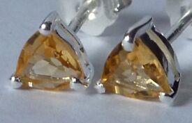 pair Stunning-6mm-natural-Citrine-topaz- gemstones in solid 925 silver.#CT4#