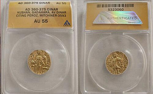 India Kushan Empire (Indo-Greek) Gadahara (AD 360-375) Gold AV Dinar ANACS AU-55