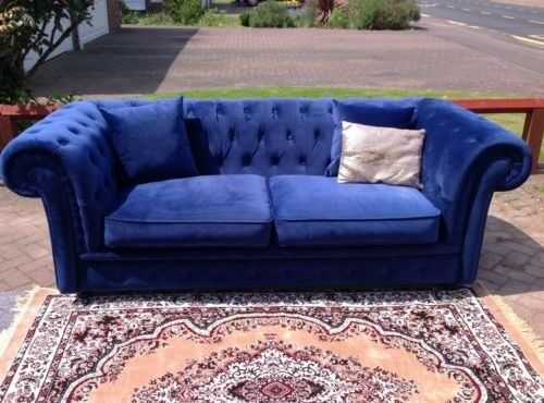 Ex Display Made Com Branagh 2 3 Seater Chesterfield Sofa In Electric Blue Velvet Rrp