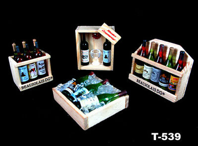 Dolls House Miniature Kitchen Drink Red Wine Beer Bottle Wood Rack Fridge Magnet