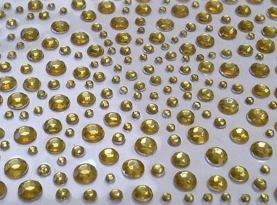 CraftbuddyUS 325 Gold Self Adhesive Diamante Stick onRhinestone Gems Cards Bling Gold Self Adhesive