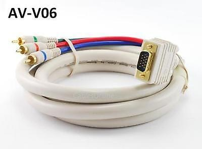 (6' VGA Premium Male to Component 3RCA Male Cable for HD Projectors w/ VGA Input)