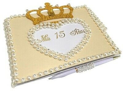 Mis Quince Anos Crown Heart Guest Book with Pearl Rhinestone Decoration Choose](Mis Quince Anos Decorations)