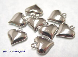 10 Antiqued Silver Puffy Heart Charm Beads SPECIAL