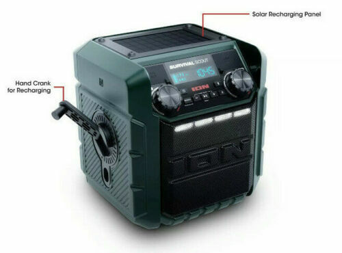 solar crank charge bluetooth emergency radio speaker