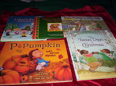 Lot 5 Childrens Holidays Christian Story Picture Books HB Halloween Christmas ++ - Halloween History Christian