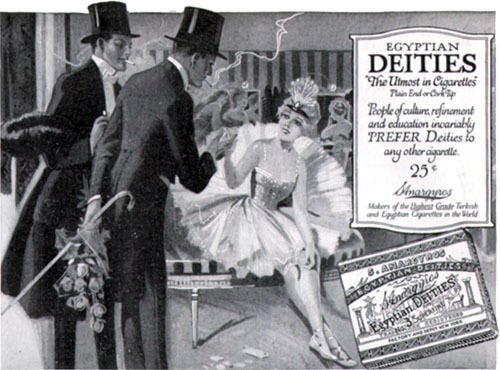 Showgirl Ballerina & Suitors Egyptian Deities Cigarettes 1917 Magazine Print Ad