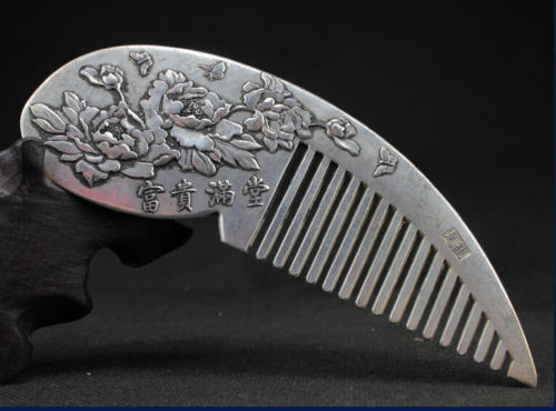 Chinese Rare Collectibles Old Handwork Tibet - Silver peony Wonderful Comb n