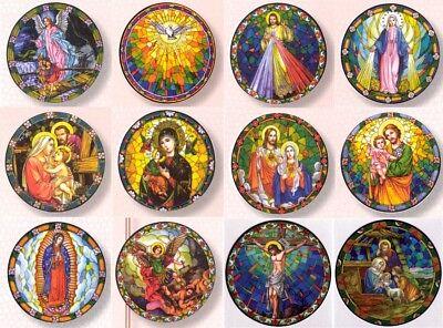 12 Catholic Window Decals ~ Reusable Vinyl Suncatchers ~ Stained Glass Design