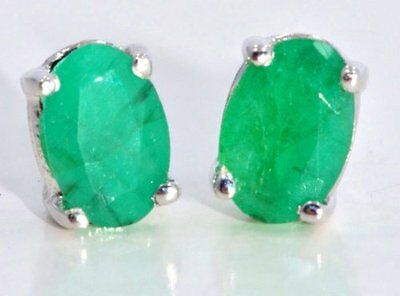(14Kt White Gold Natural Emerald 6x4mm Oval Stud Earrings)