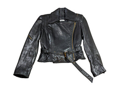 Vintage Bebe cropped leather moto biker jacket with belt