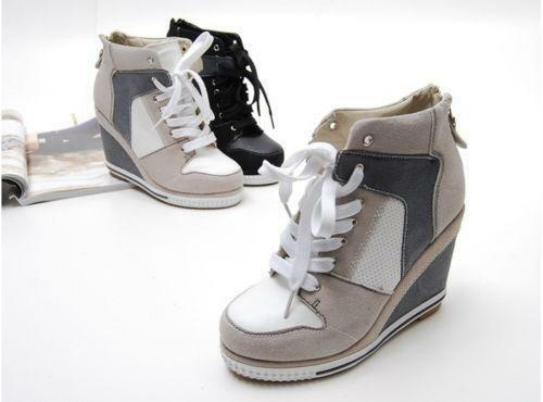 Women Wedge High Heel High Top Sneakers Tennis Shoes | eBay