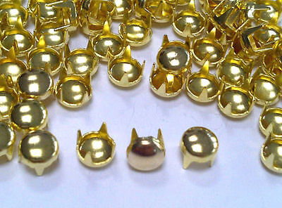CraftbuddyUS 100pcs 5mm Gold Round Studs DIY Fashion Punk Rock Goth Craft Bag