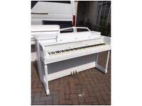 modern white upright piano by Gulbranson